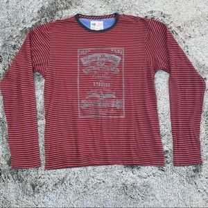 Red and dark grey striped longsleeve